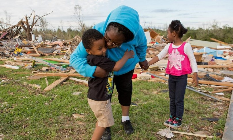 After tornado with kids