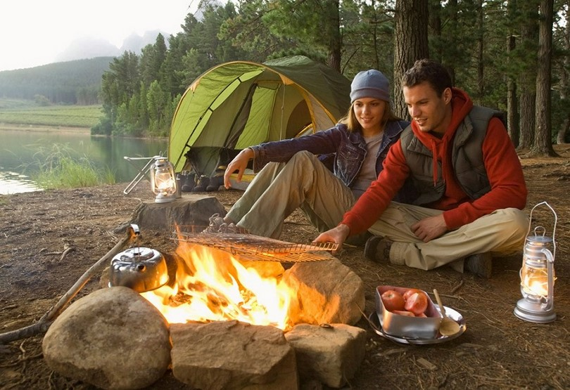 Couple Camping in the wild
