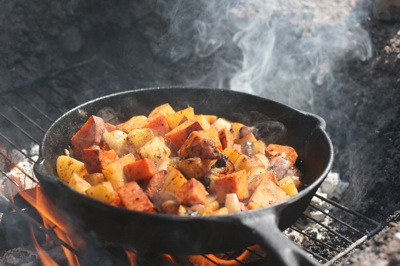 Campfire cooking without a grill infographic
