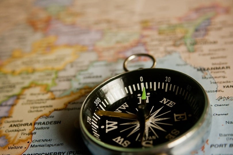 Reading a map with compass