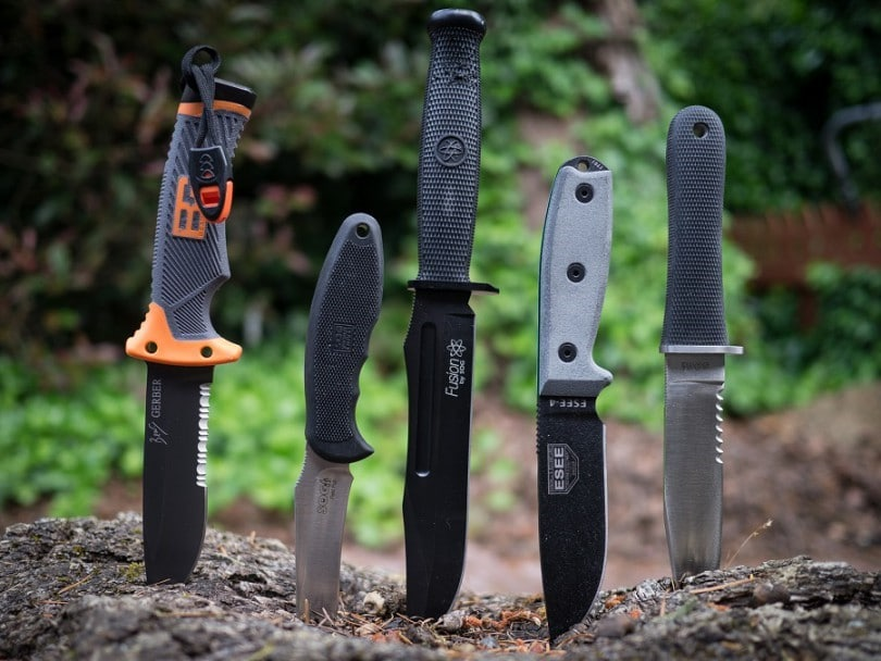 Survival knives in the ground