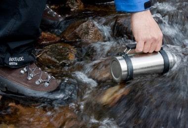 Taking spring water