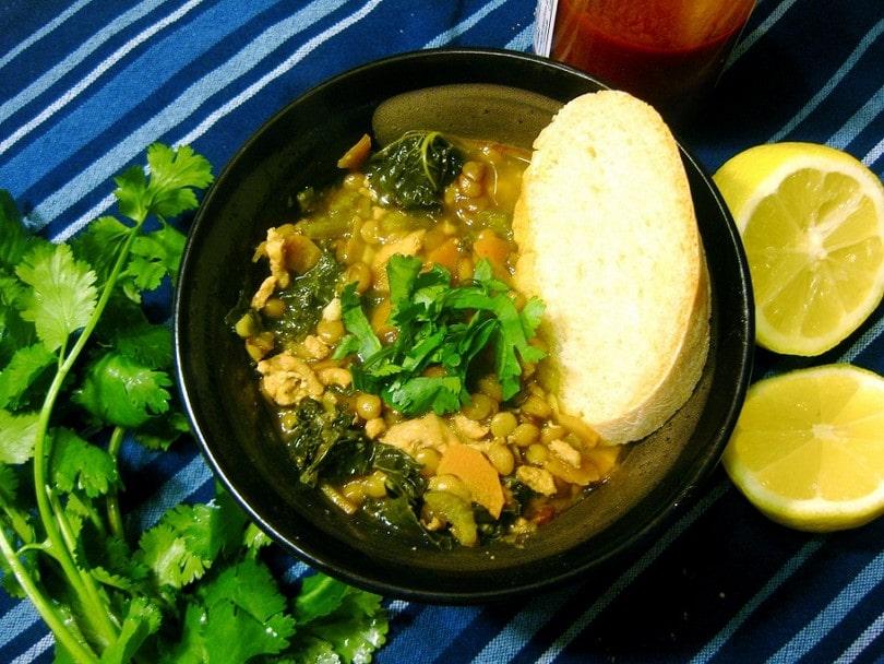 Korean lentil soup (spicy)