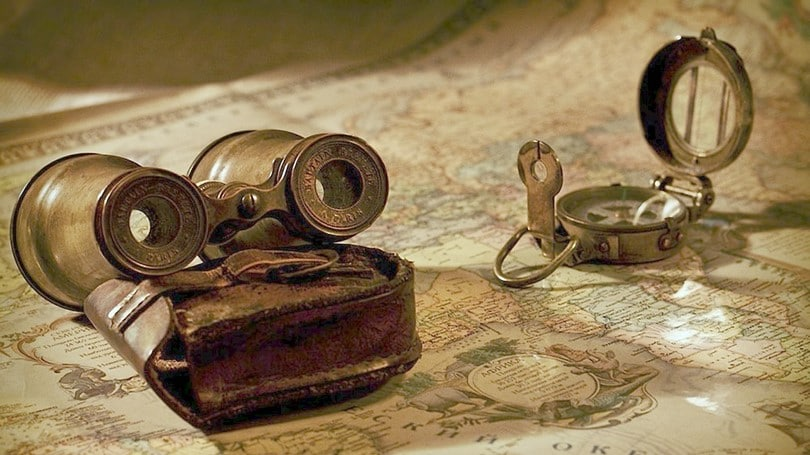 Old compass and a map