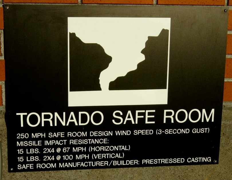 Tornado safe room sign
