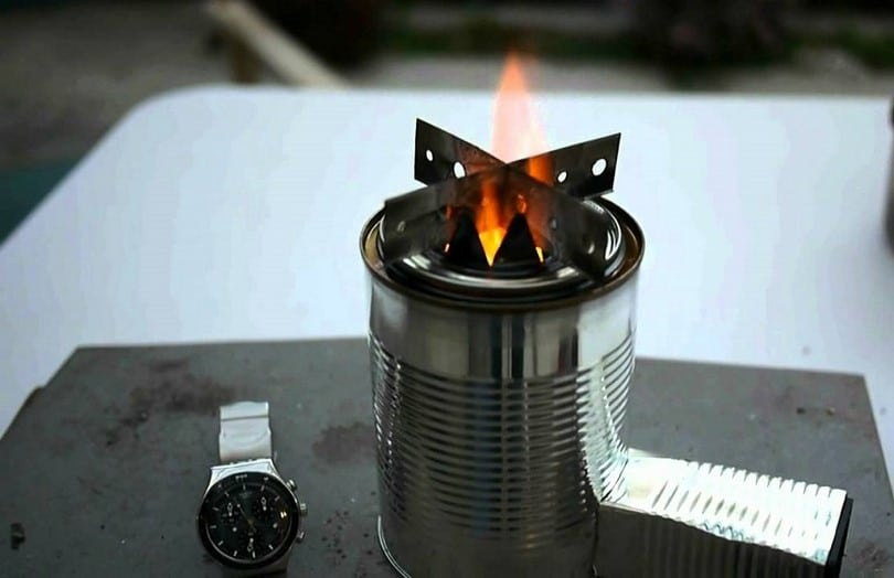 Advanced metal can stove working