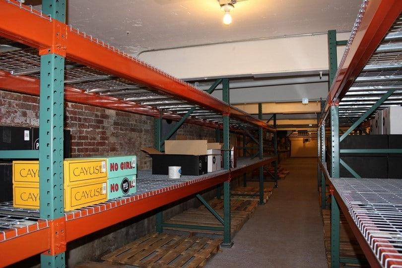 Shelves in the underground cellar