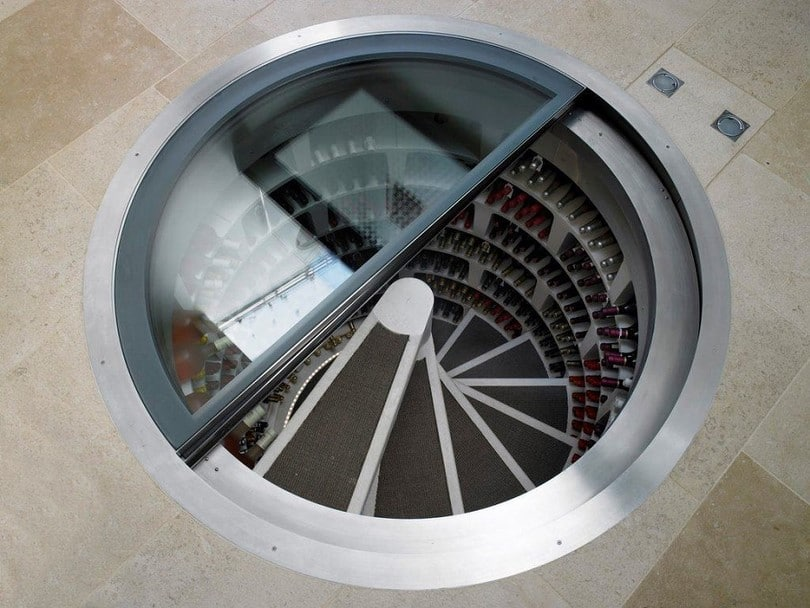 Interior design underground cellar spiral staircase