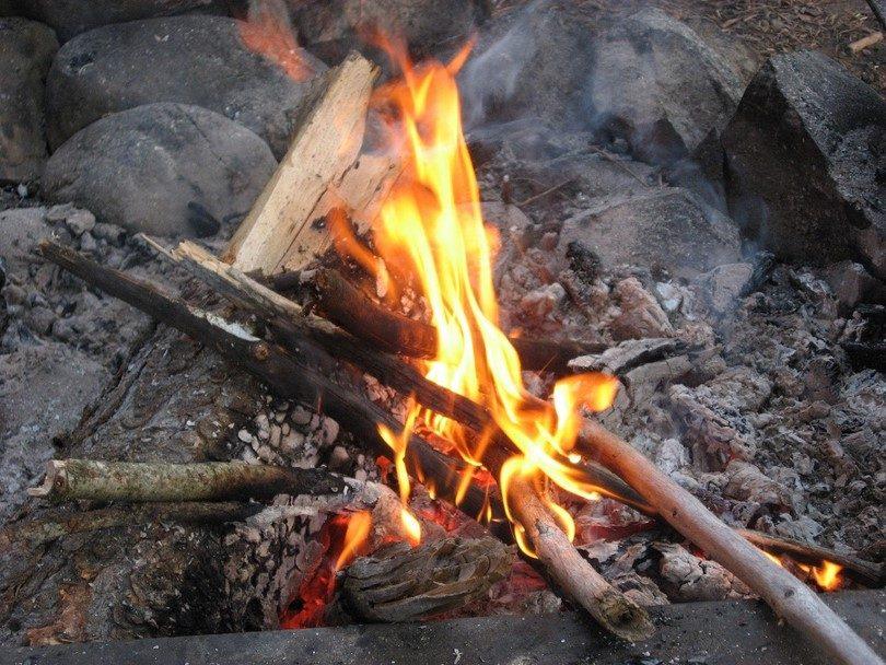 Campfire start before sunset