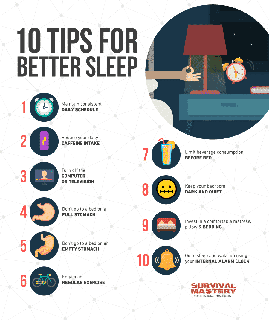 How to Sleep Better tips infographic