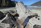Solar charger on the shore
