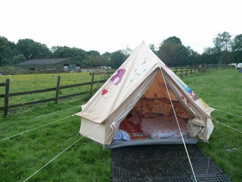 Tent on empty field