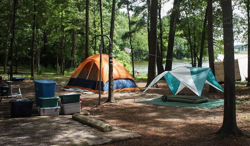 Tents near water