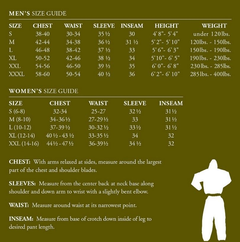 Frogg Toggs size chart