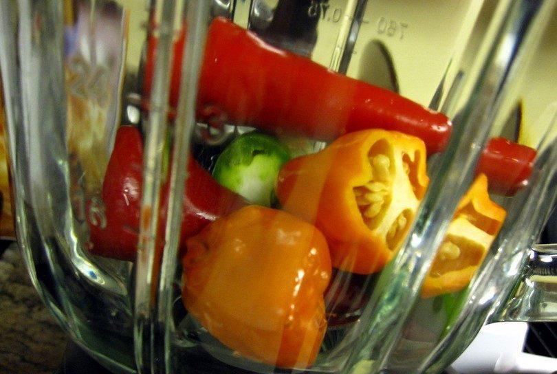 Peppers in blender