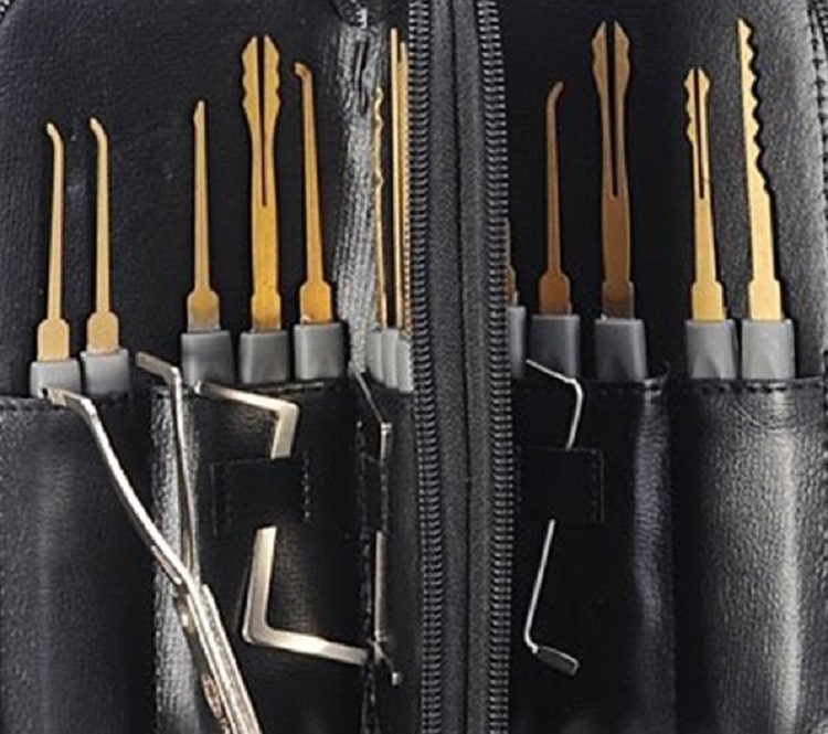 Tinksky 24 piece leather packing titanium single hook lock picks