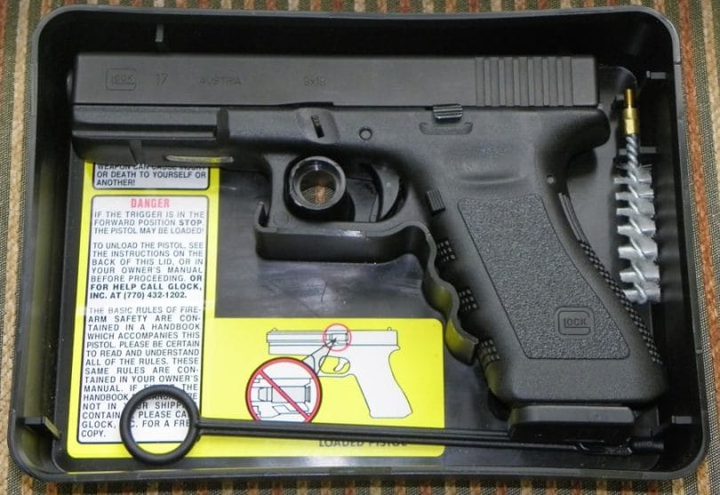 Glock 17 pistol in box