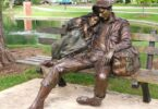 Homeless people statue