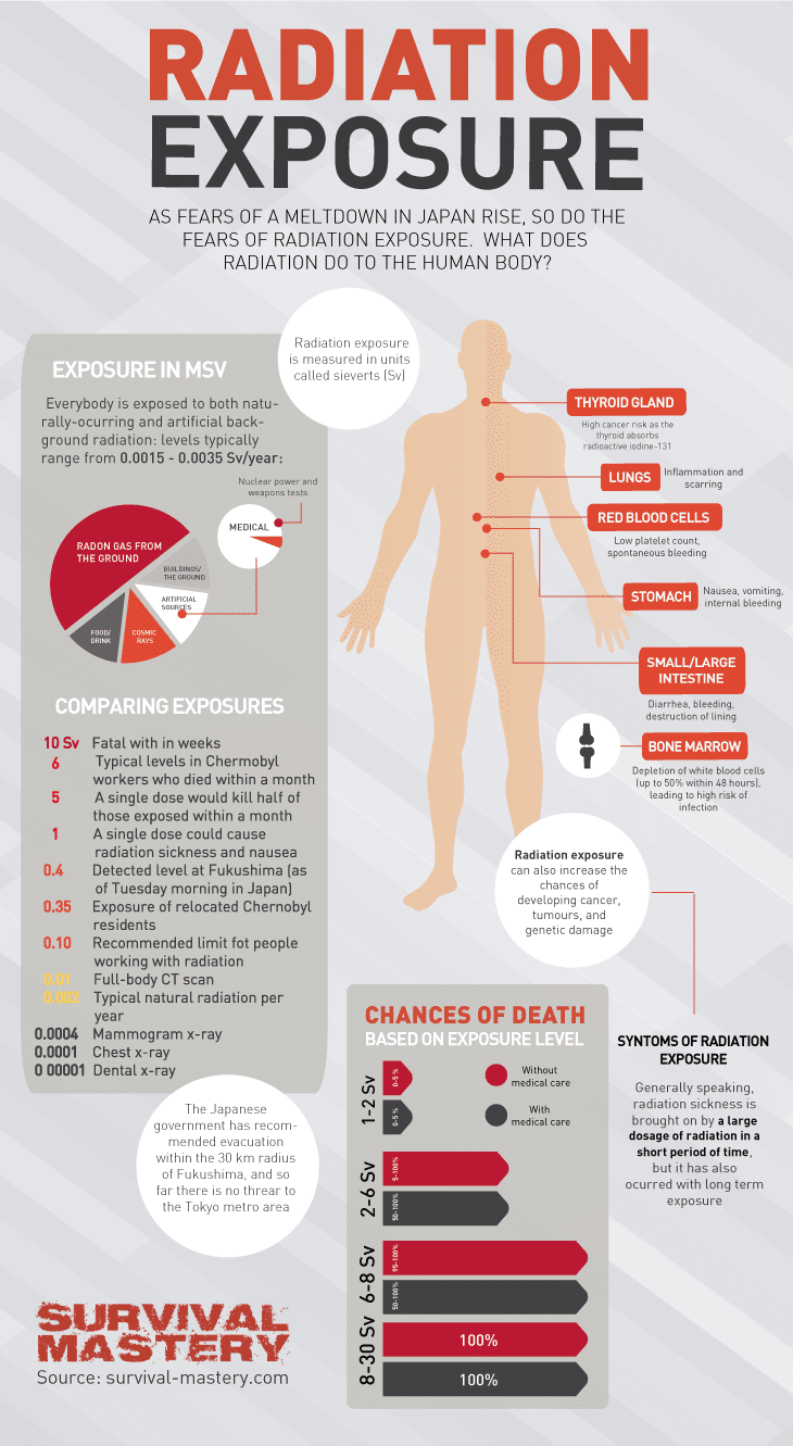 Radiation exposure on human body infographic