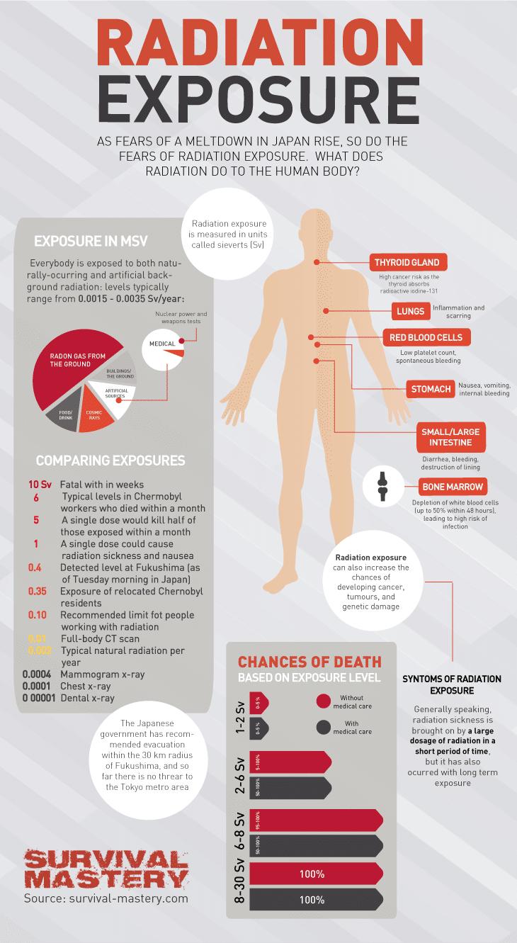 Radiation exposure on human body infographic