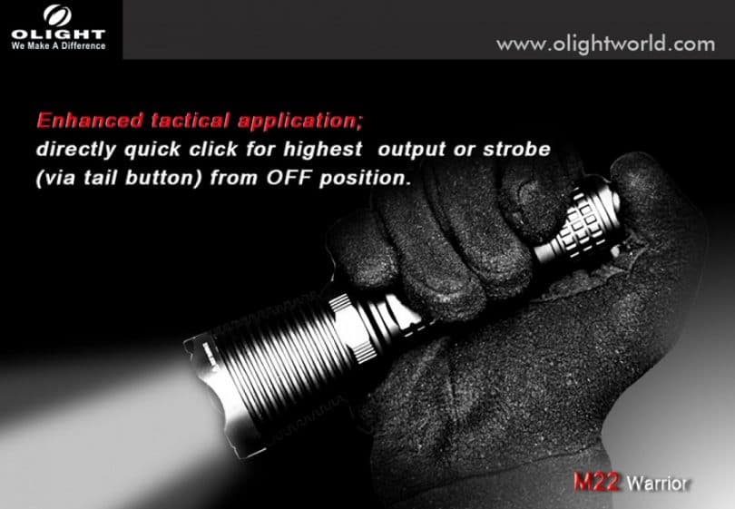 Olight M22 Warrior 950 Lumen Cree XM-L2 LED Tactical Flashlight with Black Bezel, Black