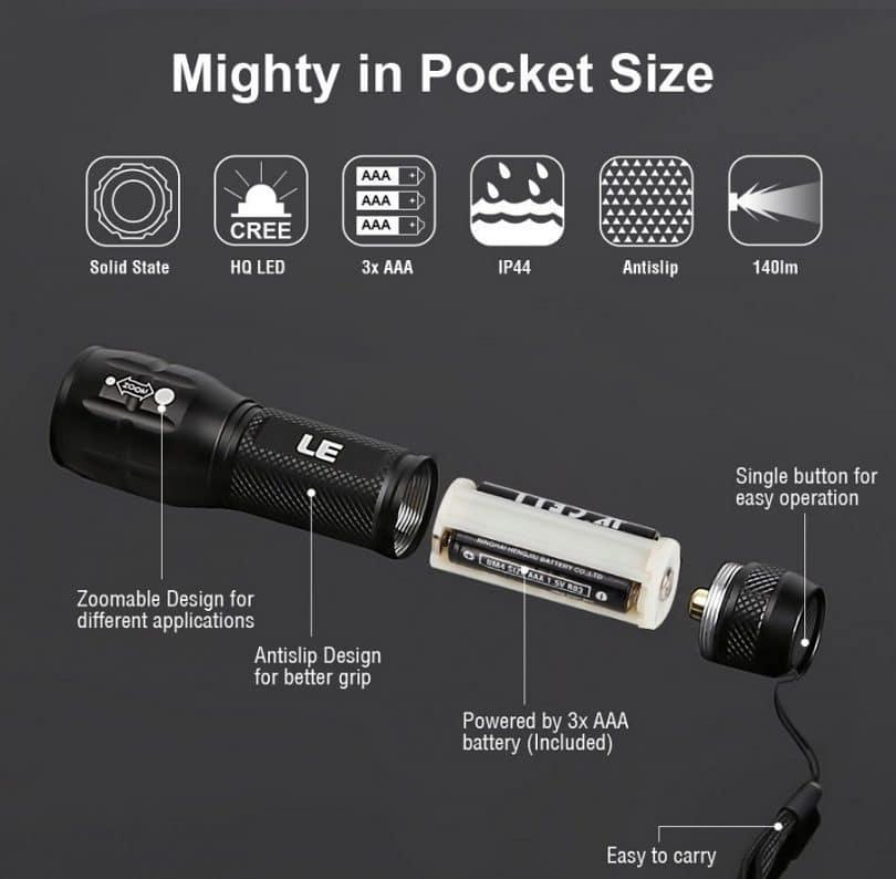 LE Adjustable Focus Mini CREE LED Flashlight Torch