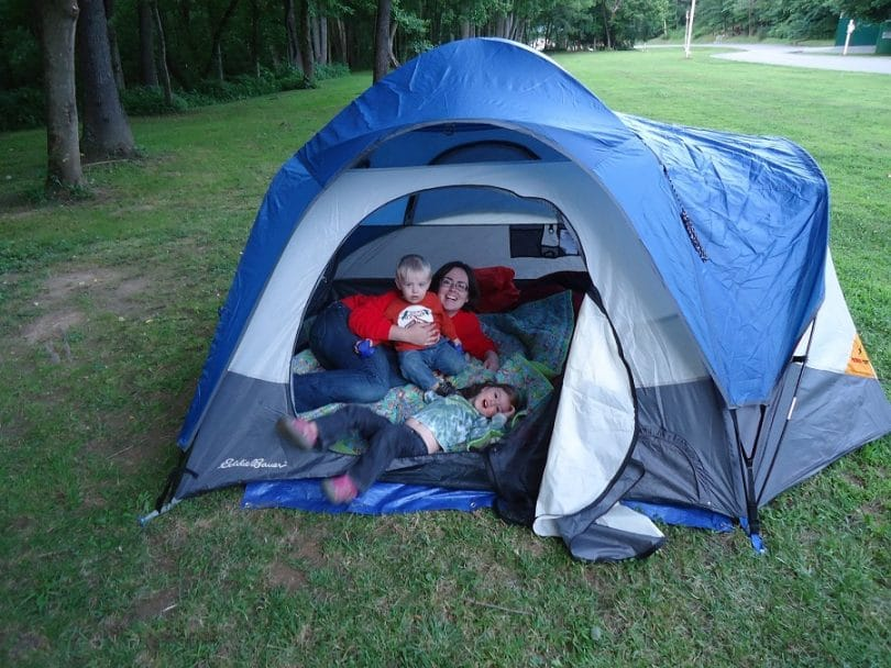 Camping tent with children