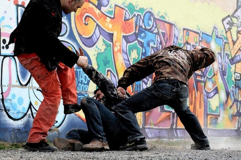 Fighting on the street