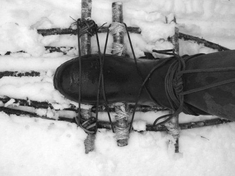 Make snowshoes out of branches