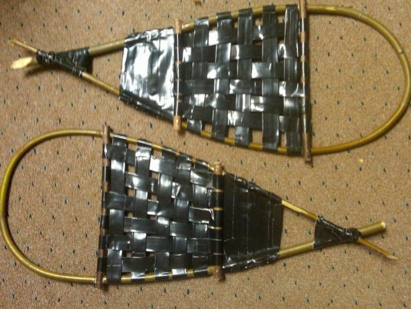 Make snowshoe from duct tape