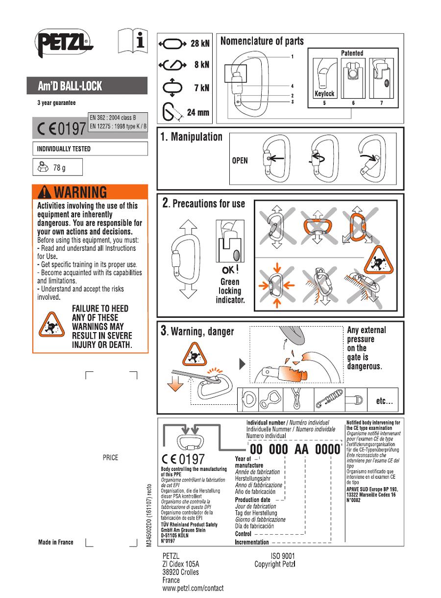 Petzl Am'D Ball lock infographic