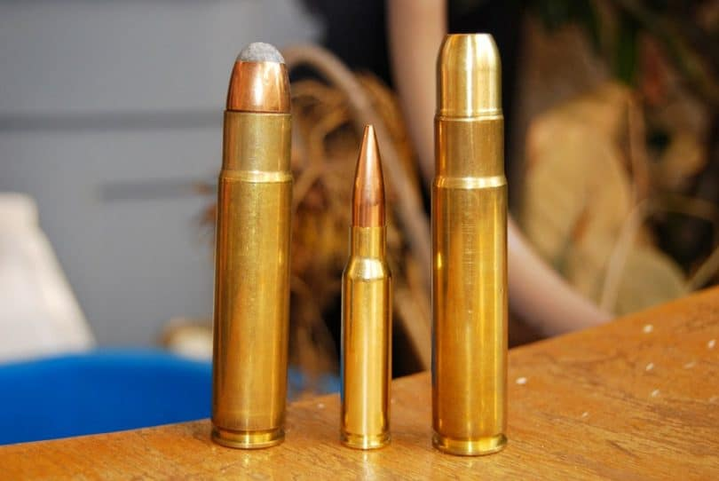 .308 Winchester on the right