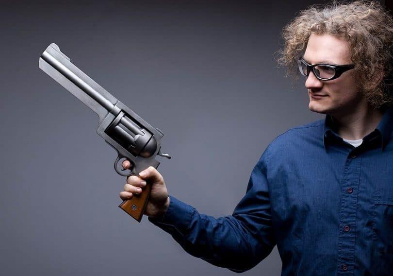 Man with big gun