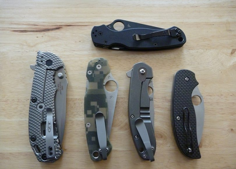 EDC knives on table