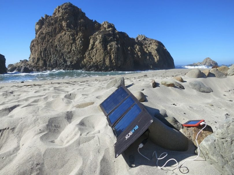 Portable solar on the beach