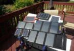 Portable solar panels together