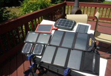 Portable solar panels together