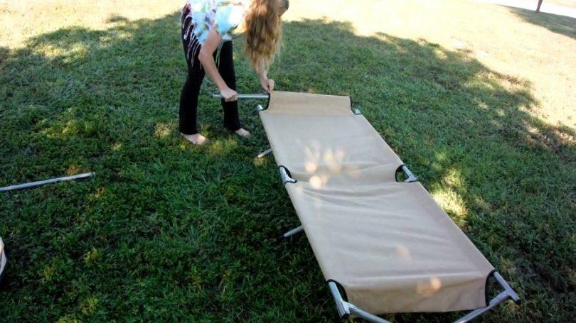 Assembling camping cot