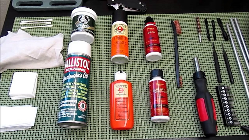 Rifle cleaning gear on the table