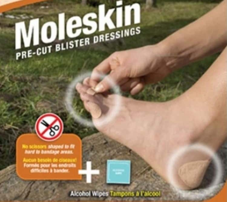 Moleskin donut around blister