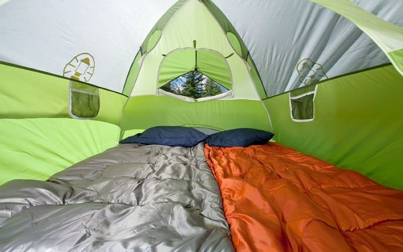 Sleeping bag in the tent