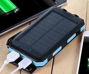 Solar Charger, Solar Power Bank 10000mAh External Backup Battery Pack by Absone