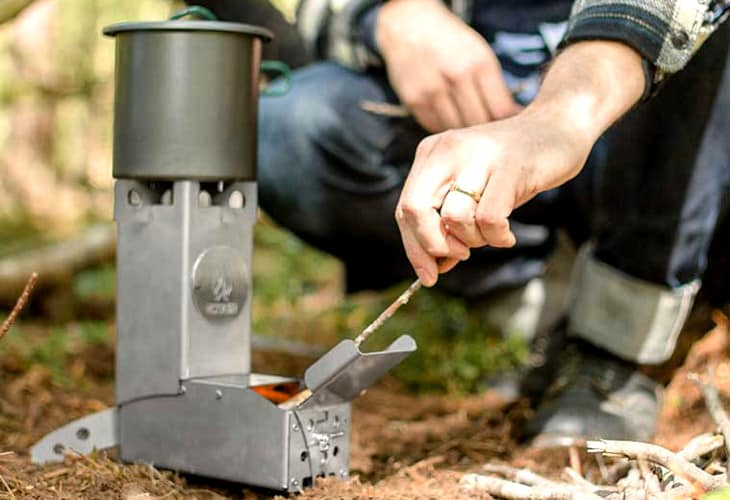 Hot ash stove in use