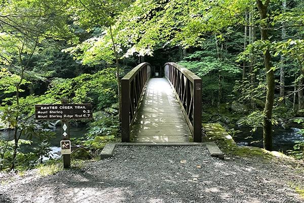 Bridge and start of Baxter Creek Trailhead