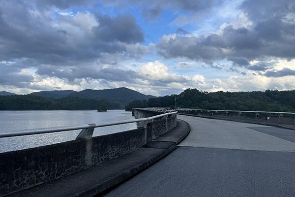 Road walk across Fontana Dam to shelter