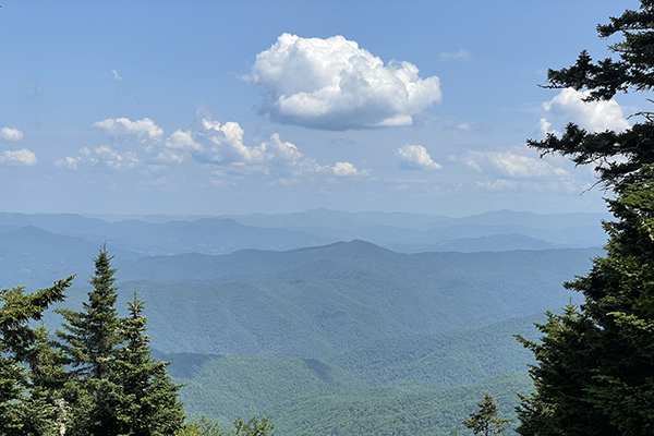 View of the Smokeys from the top of Sterling Mountain