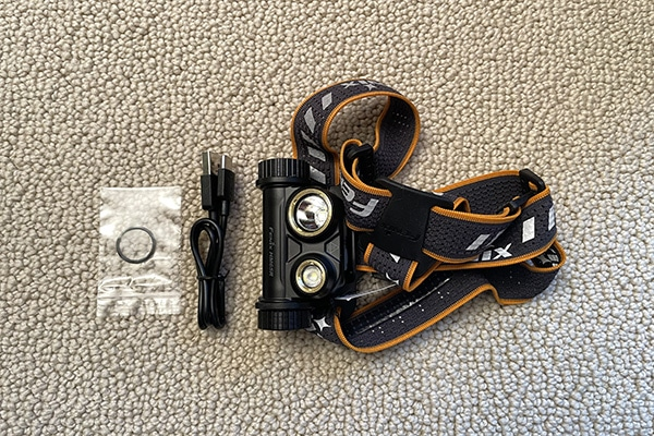 Fenix HM65R Headlamp components in package
